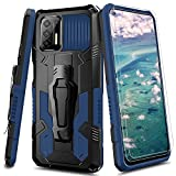 for Moto G Stylus 2021 Case Military-Grade Anti-Drop Case with Tempered Glass Screen Protector [2 Pack],Reinforced Corner Buffer Eedges,Compatible with Moto G Stylus Phone Case 2021 -Blue