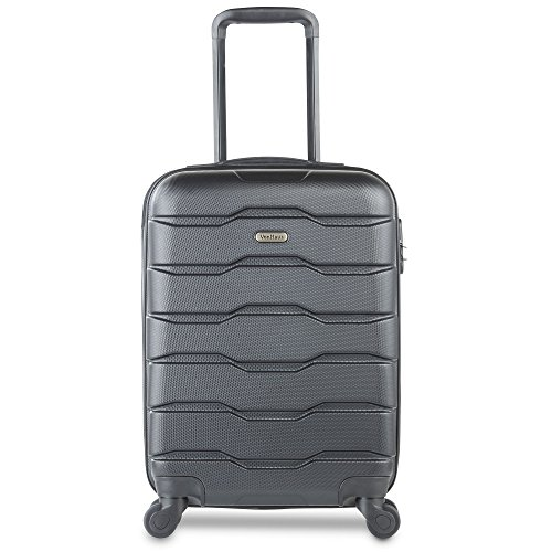VonHaus Lightweight Travel Carry on Hand Cabin Luggage Hard Shell Cabin Suitcase Trolley Bag 55cm- Approved for Easyjet Ryanair Flybe, Black