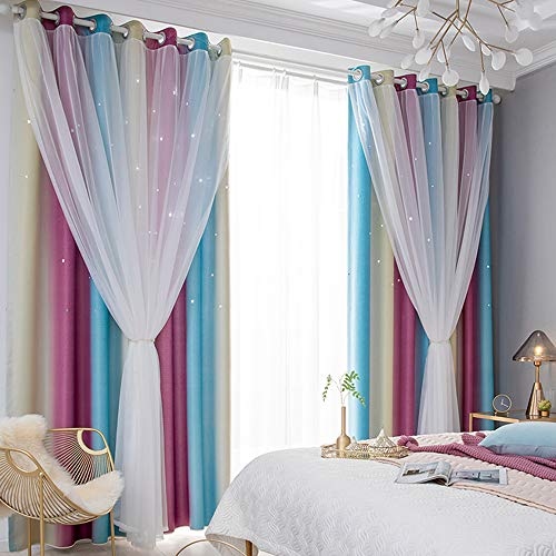 Gradient Ombre Curtains Star Curtains Double Layer Blackout Decorative Window Treatment Panel Drapes for Kids Room Living Room,Tulle Overlay Grommet Thermal Insulated Room Darkening Panel