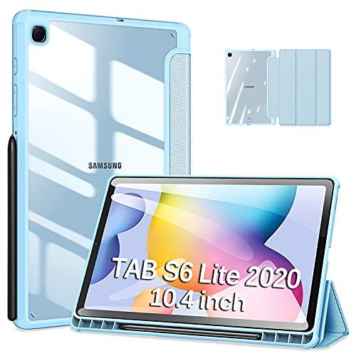 DUZZONA Funda para Samsung Galaxy Tab S6 Lite 10.4 2020(P610/P615),Ultra Delgada Trasera Transparente Back TPU Cover Carcasa con Soporte Incorporado de Pencil,para Tab S6 Lite,Azul Claro