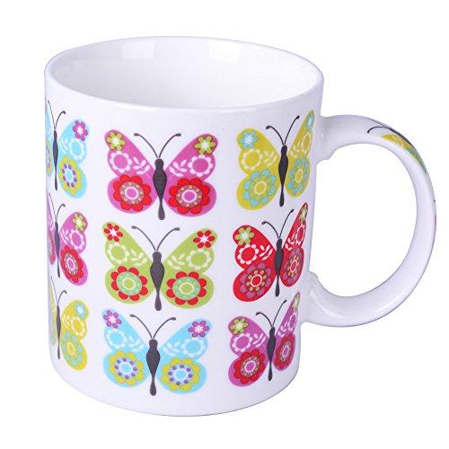 Silicone Gold Papillon Mug, Porcelaine, Multicolore, 13 x 10 x 8 cm