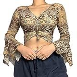 Y2K - Blusa de manga larga con estampado vintage para mujer, caqui, L