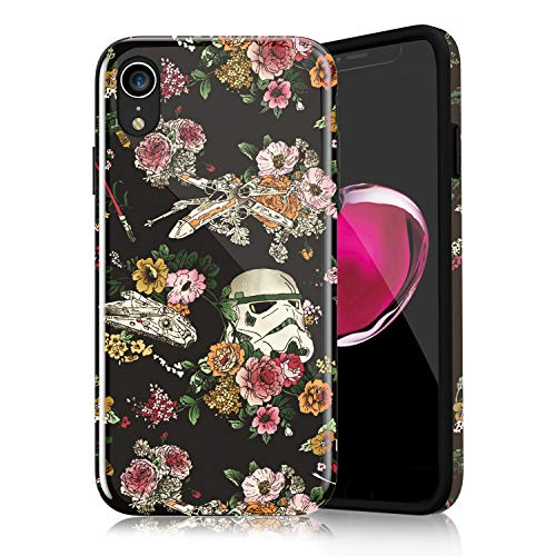 Floral Star Wars Protective Case for iPhone XR, Lightweight Flexible TPU Raised Edges Scratch Resistant Glossy Rubber Silicone Phone Cover for iPhone XR