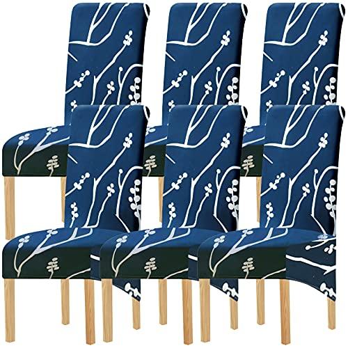 SHENGYIJING Fundas elásticas de Tela Estampada M para sillas de Comedor, 2/4/6 Piezas Fundas elásticas para sillas para Comedor, Bodas, Banquetes, Fiestas, decoración (Color 4,6 Pack)