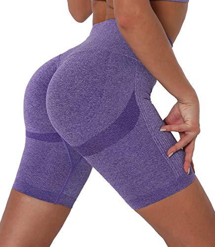 Lalamelon Pantalones Cortos Leggings Mujer Mallas Cortas Deportivos Push Up de Cintura Alta Yoga Leggins Shorts de Verano Fitness Running Elásticos Cómodo y Transpirable
