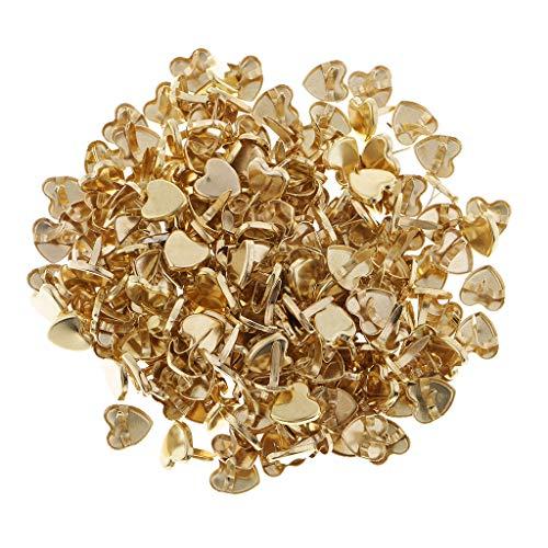 FLAMEER 200 Stück 9mm Gold überzogene Herz Mini Brads Musterbeutelklammer Scrapbooking Verschönerung DIY Handwerk