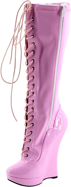 b9ae891158c73 Wonderheel 7 Wedge Heel lace up Sexy Fetish Women Knee high Boots ...