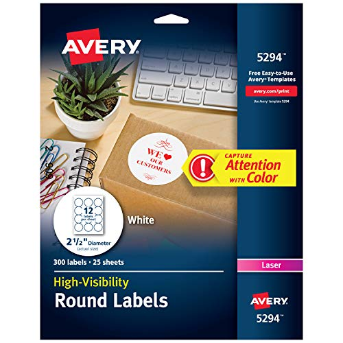 Avery Print-to-the Edge High-Visibility 2.5 Round Labels, 300 Pack (5294)