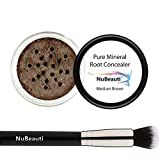 Root Concealer Touch Up Powder | All-Natural Crushed Minerals With Brush | Fast and Easy Total Gray Hair Cover up For Black | Brown | Auburn and Blonde Hair .30 ounce (Medium Brown)