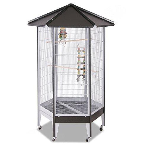 Montana Cages ® | Sechseck Voliere, Zimmervoliere, Käfig Villa Redondo - Antik/Platinum