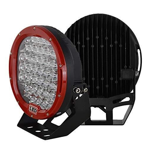 SKYWORLD Faros de trabajo, 2x 9 pulgadas 225W Spot Beam luces de trabajo focos led tractor faros para 4x4 4WD Coche SUV UTV ATV Off-road Camión Moto Barco 12V 24V rojo