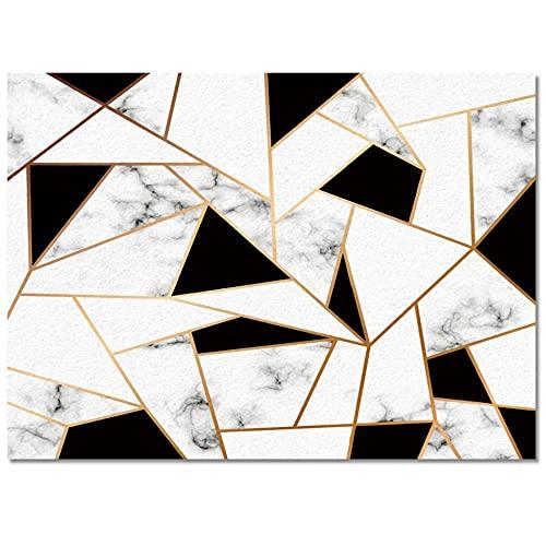 Textura de mármol Alfombra Triangular en Blanco y Negro Alfombra de Puerta de Entrada Alfombra de Sala de Estar Alfombra Larga de Cocina Alfombras para Puerta de Entrada Decoración del hogar-60x90
