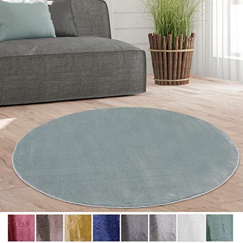 Taracarpet Weicher Kurzflor Designer Teppich modern für Wohnzimmer, Schlafzimmer, Kinderzimmer und Arbeitszimmer Mint grün 120x120 cm rund