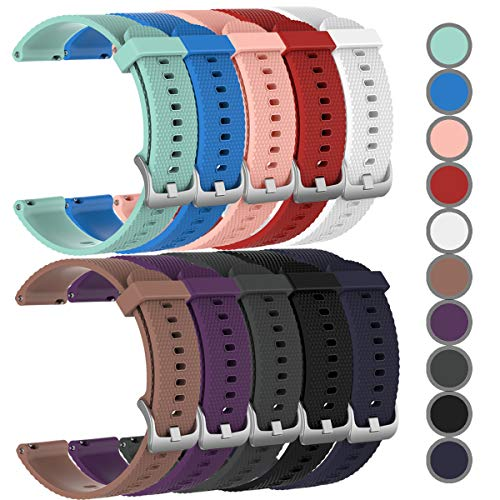 HWHMH Newest Replacement Silicone Bands for Garmin Vivoactive 3/Vivomove/Vivomove HR (No Tracker, Replacement Bands Only) (10-PCS, S)