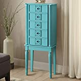 Goujxcy Standing Jewelry Cabinet,Wood Jewelry Armoire with Mirror,5 Drawers & 8 Necklace Hooks,Retro Jewelry Box (Light Blue)