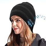 EasyULT Bluetooth Gorro Invierno, Unisex Gorro Bluetooth 5.0 música Recargable, Micrófono para Llamadas Manos Libres, Regalo para Hombres, Mujeres, para Deportes al Aire Libre(Nuevo Negro)