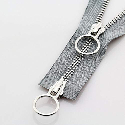 1pc 70/90cm 5# doble deslizador de extremo abierto cremallera O Ring Head Auto Lock Cremalleras de metal para Down Chaqueta Coat Bag DIY Accesorios de costura gris 5#,70cm