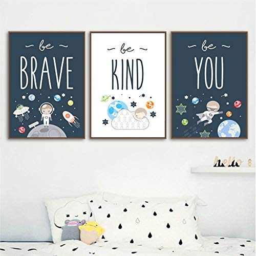 MYSY Cartoon Astronaut Wall Art Canvas Painting Nursery Nordic Poster Baby Kids Room Decor Wall Pictures For kid Room-40x60cmx3 pcs no frame
