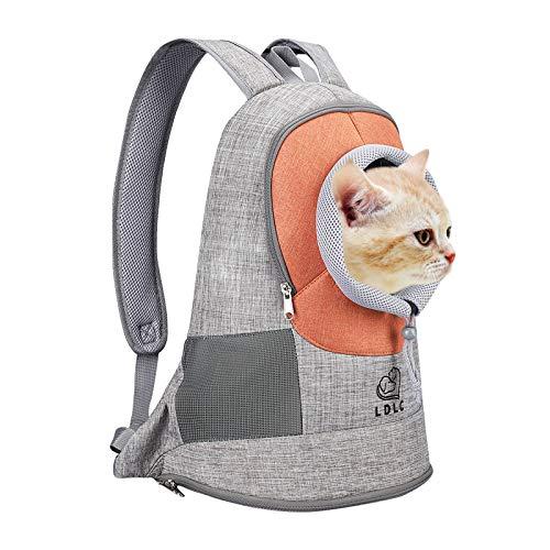 Vejaoo Mochila para Transporte De Mascotas, De Fácil Ajuste para Viajes, Senderismo, Camping, para Perros Pequeños, Gatos y Cachorros XZ033 (L, Orange)
