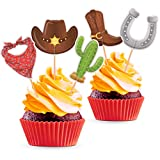 Cowboy Party Cupcake Toppers - Western Theme Birthday or Baby Shower Decorations Supplies - 25 PCS