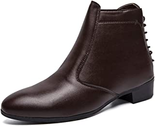 CHENDX Shoes, Slip On Style Ankle Boot for Man High Top Boot Microfiber Leather Convenient Zipper Retro Back Strap Lustrous Surface (Color : Brown, Size : 43 EU)