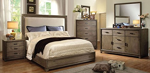 New Transitional Natural Ash Finish Platform Bed Eastern King Size Bed Dresser Mirror Nightstand 4pc Set Linen Like Fabric HB Solid Wood Bedroom