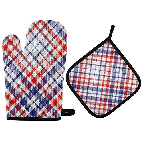BOOBERT Oven Mitts and Pot Holder Oven Gloves Red and Blue Grid Non-Slip Hot Pads Insulation Gloves Heat Resistant Kitchen Set for Cooking Baking Grilling BBQ