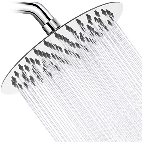 8 Inch High Pressure Rain Shower Head, Round 304 Stainless Steel Rainfall Shower Head, Ultra Thin Design, Comfortable Shower Experience Even at Low Water Flow (8 Inch, Chrome)