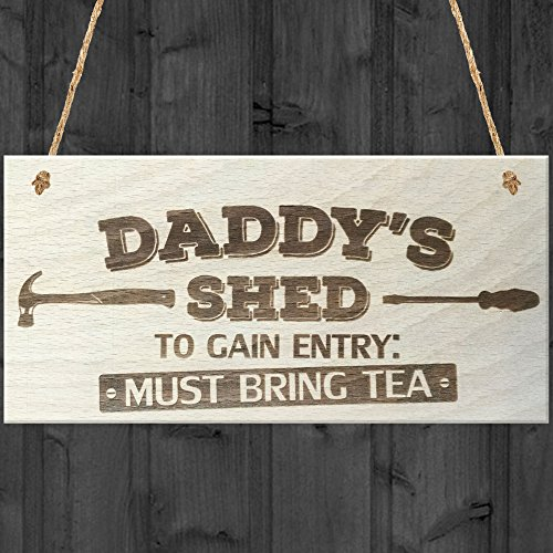 Red Ocean Daddys Shed To Gain Entry Must Bring Tea Novelty Wooden Hanging Plaque Garage Gift Sign