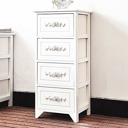 DL furniture Fully Assembled Tone Finish Night Stand 4 Drawer Storage Shelf Organizer 100% Light Weight Basswood | White