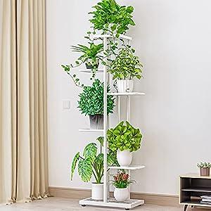 Soporte para Flores con 6 Estantes, Escalera para Flores de Metal, Estantería para Interior, Soporte para Plantas para Decoración Interior y Exterior (blanco)