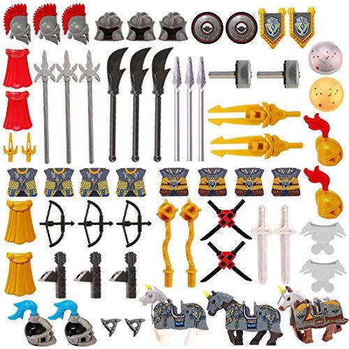 HYZM Militär Waffen Spielzeug, 66 Stücke Antike Römer Millitärspielzeug Waffe Set für Soldaten Minifiguren Polizei SWAT, Bausteine Kit Kompatibel mit Lego