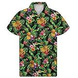Agroupdream - Camisa hawaiana de manga corta para hombre, estilo casual, floral, para verano, para fiestas en la playa, campamento, talla 2XS a 4XL Negro Frutas tropicales de Hawái 3XL