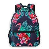 Lawenp Mode Unisex Rucksack Flamingo und Blumen Bookbag Leichte Laptoptasche für Schulreisen...