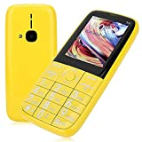 Big Button Mobile Phone, 2.4in 2G 3G Dual Card Unlocked Mobile Phone with Large Buttons for Elderly.(Yellow)
