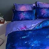Fansu Juego de Ropa de Cama de 4 Piezas, Universo Galaxy Starry Juego de Fundas de Edredón Incluye 1 Funda Nórdica y 1 Sábana encimera 2 Funda de Almohada (Morado Oscuro,180x220cm)