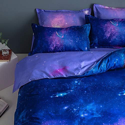 Fansu Set di Biancheria da Letto Matrimoniale de 4 Pezzi, Universo Galaxy Starry Set Copripiumino per Letto Matrimoniale con Lenzuola Piane e 2 federe (Viola Scuro,220x240cm)