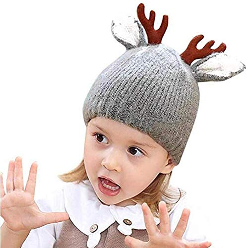 LBSST Kids Santa Hat Autumn Baby Christmas Cute Reindeer Baby Beanie Soft Warm Crochet Knitted Hat for Girls Boys Gift Kids Caps