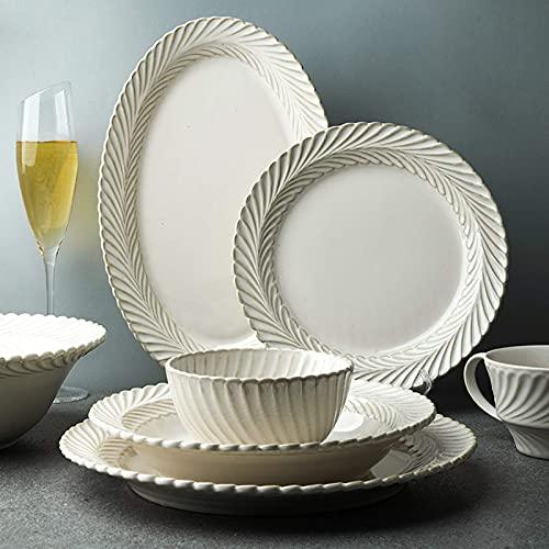 Platos de cena elegantes, juegos de cena de cerámica, juego de vajilla de porcelana esmaltada blanca de 25 piezas para regalos de boda |Juego de cuenco de cereal y plato de carne con relieve retro