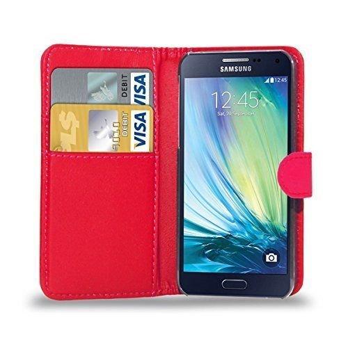 PU funda de piel para Samsung Galaxy A3 recién lanzado/A5/A7, Galaxy S6/S6 etidronato, Galaxy Core Prime por RS ACCESSORIZE, piel sintética, rojo (Case), Samsung Galaxy S6