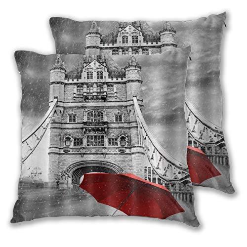 CONICIXI 2pz Federa per Cuscini Ombrello Rosso sulla Scena Romantica della Città di London Bridge Cuscino Copertura Decorazione Domestica Morbido dell'automobile del sofà 60cm x 60cm