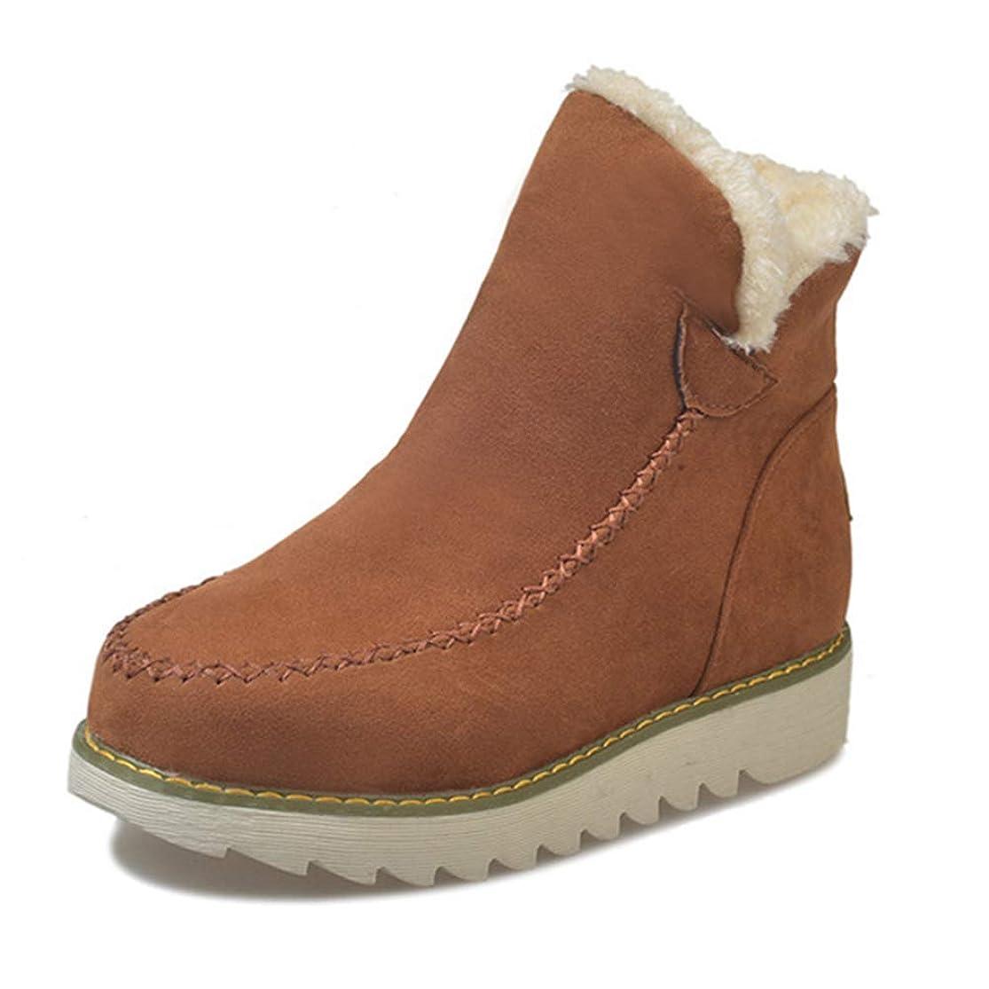 目的リファイン役立つ[AcMeer] スノーブーツ ムートンブーツ レディース 裏ボア 防寒ブーツ ふわふわ 滑り止め 履きやすい スエード 裏起毛 カジュアル 綿靴 冬靴 通学 通勤用 アウトドアブーツ ブラウン ベージュ