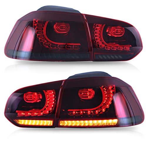VLAND Tail lights Assembly Fit for 2008-2013 Volkswagen GOLF 6 MK6,with Sequential Turn Signal, Reverse Lights, LED DRL light, Plug-and-play, Red Smoked
