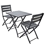 TRUESHOPPING Solback Garden Table & Chair Bistro Set - 3 Piece Polywood Top and Aluminium Frame Outdoor Furniture Set in Dark Grey