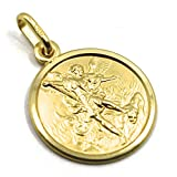 Colgante medalla San Miguel Arcángel, diámetro 1,5 cm, oro amarillo 750 18 K, sólida, protección, muy detallado