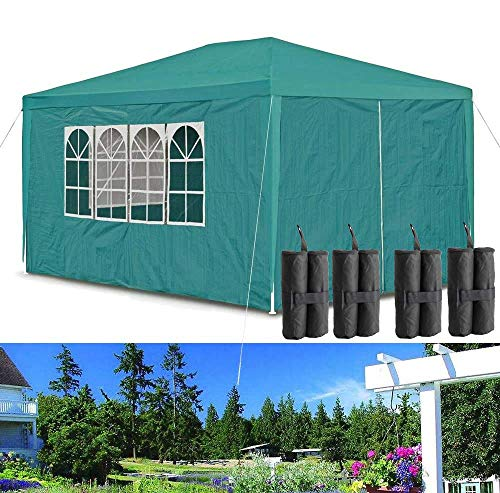 Küchenks Gazebo Tent for Outdoor Party 3x4M Green Sunscreen Canopy, Upgrade Thicken Tubes and 120g Waterproof PE Cover, Ropes, with Gazebo Weight Sandbags