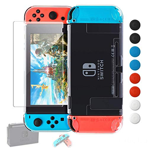 Nintendo Switch Case Dockable [Updated],YUANHOT Protective Case Cover for Nintendo Switch and Switch Joy-Con Controller with 1Pack Tempered Glass Screen Protector(Transparent)