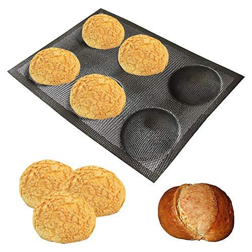 Josietomy Mini-Baguette-Backblech, 6-Loch, Brotbackblech, antihaftbeschichtet, lebensmittelecht, atmungsaktiv, wiederverwendbar