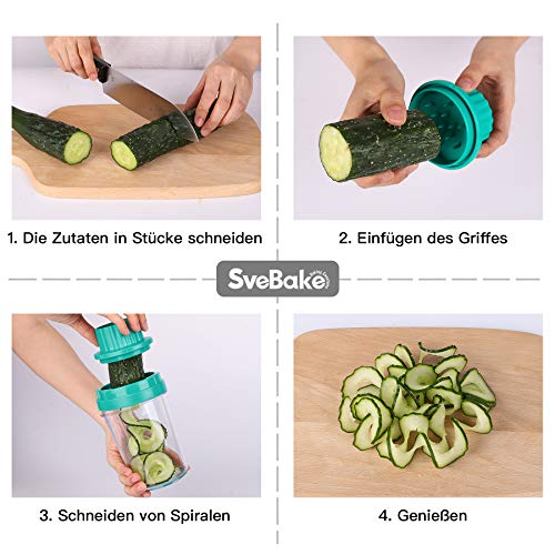 SveBake Cortador de Verdura 8 en 1 Rallador de Verduras Calabacin Pasta Espiralizador Vegetal Veggetti Slicer Pepino, Espaguetis de Calabacin, Cortador Espiral Manual | Gris