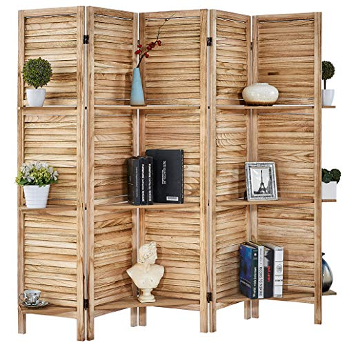 RHF Panel 5.6 Ft Tall Partition Wood Room Divider, Wood Folding Room Divider Screens, Panel Divider&Room Dividers, Room Dividers and Folding Privacy Screens with Shelves (Natural, 5 Panel)